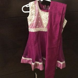 Purple Indian salwar top with pajama pants, scarf